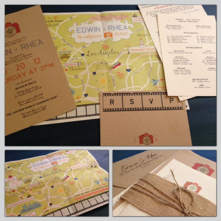 custom map fold out wedding invitation