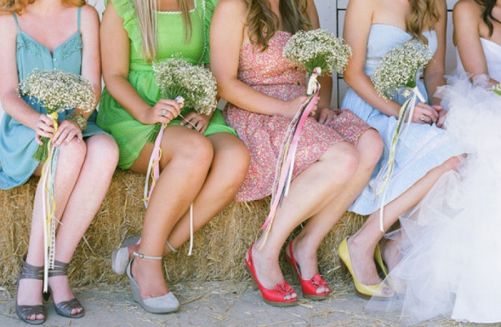 red yellow and gray bridesmaid shoes