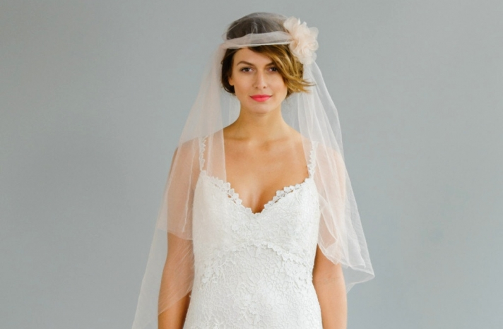 sheer peach halo bridal veil