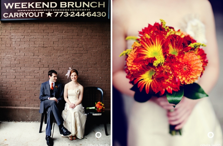 bright red orange and yellow wedding bouquet for fall