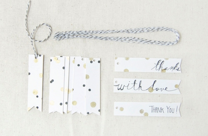 handmade wedding thank you tags in white gold and black