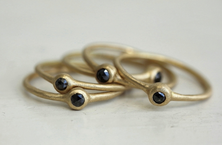gold wedding bands with black rose cut diamonds