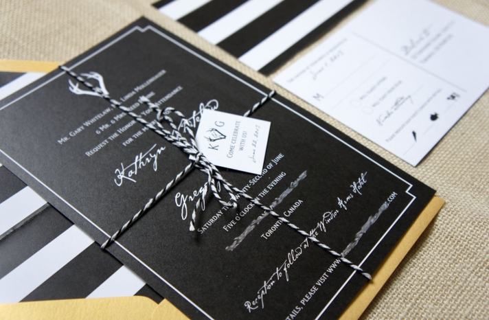 modern glam wedding invites in black gold and white