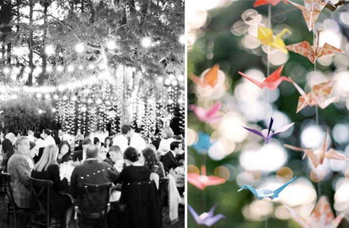 Outdoor wedding reception with paper cranes decor