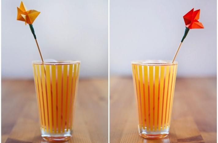 bright origami wedding drink stirs