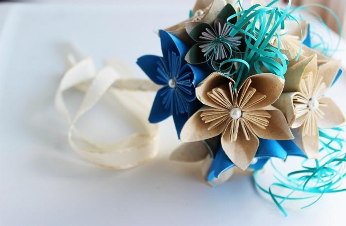 navy aqua and beige paper flower wedding bouquet