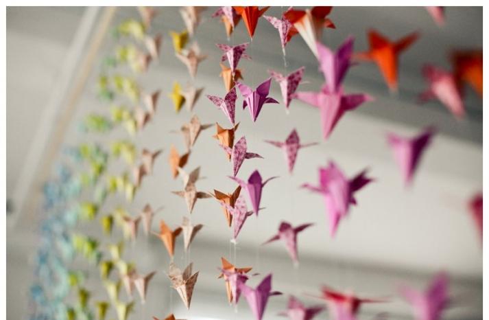 rainbow origami curtain at modern wedding reception