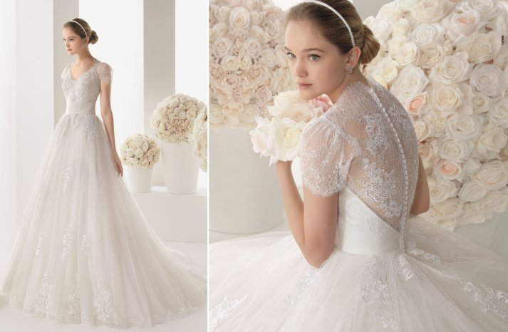 Two by Rosa Clara lace sleeved wedding dress