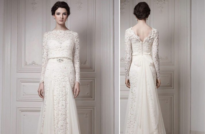 Lace sleeved wedding dress by Ersa Atelier