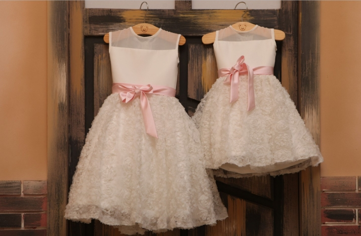 Ivory chiffon flower girl dresses with illusion necklines