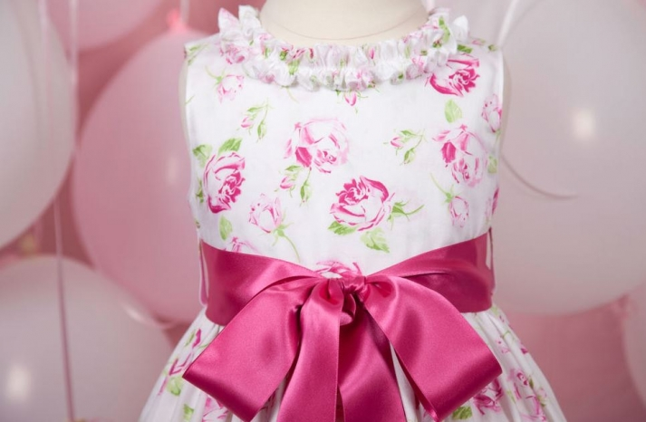 White pink and green floral flower girl dress