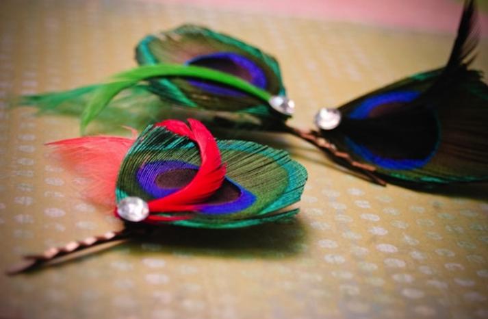 rainbow peacock hair pins for bridesmaids
