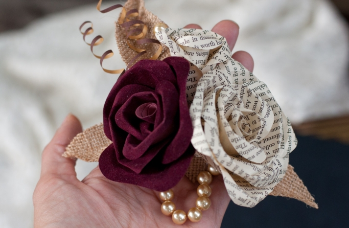 wine burlap and vintage book page wedding corsage
