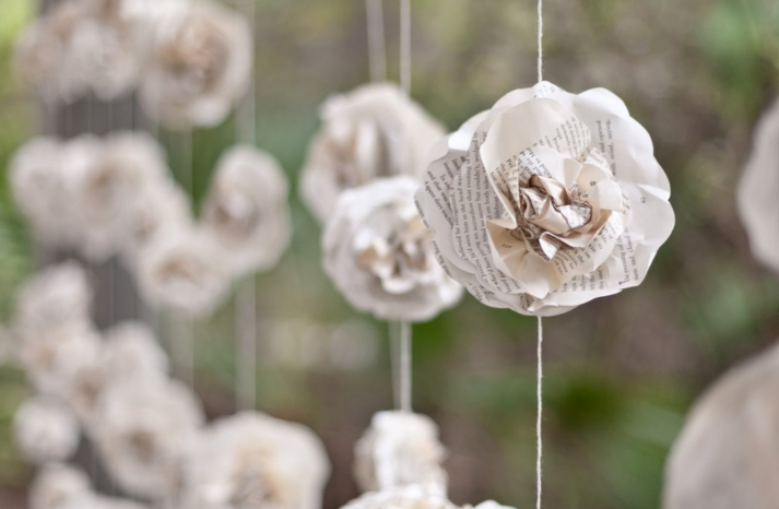 book page wedding flower garland
