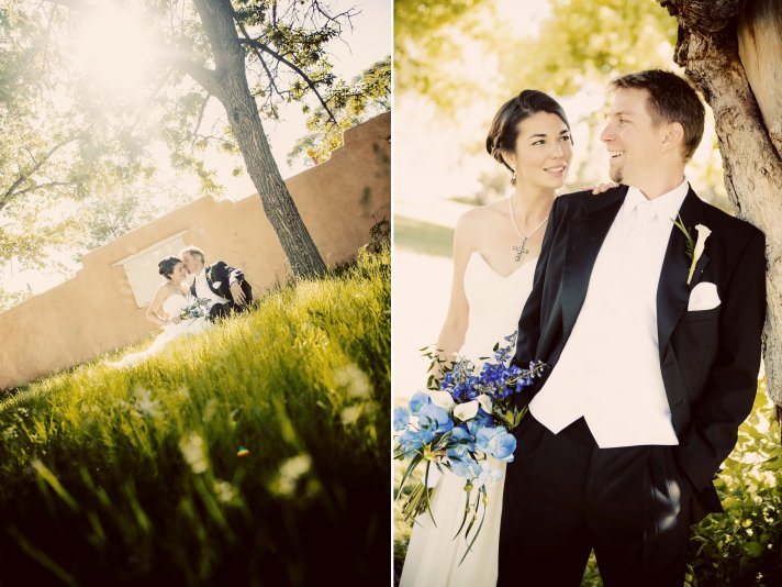 Romantic outdoor wedding shot of the bride and groom