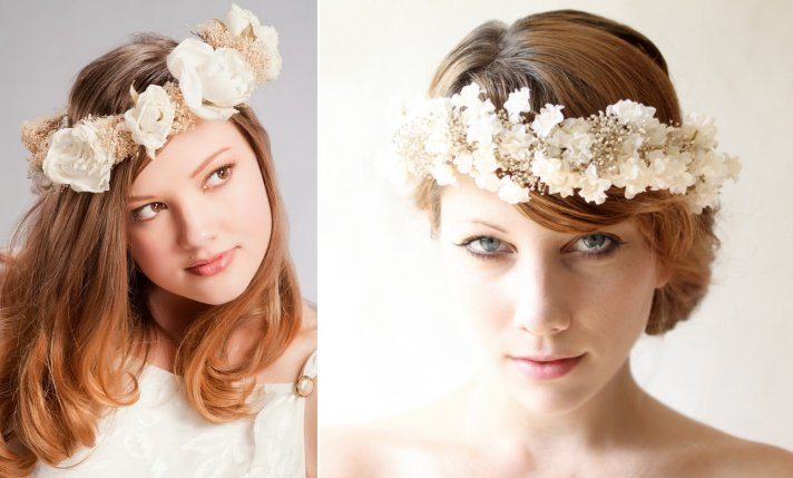 Dried floral crowns for boho brides
