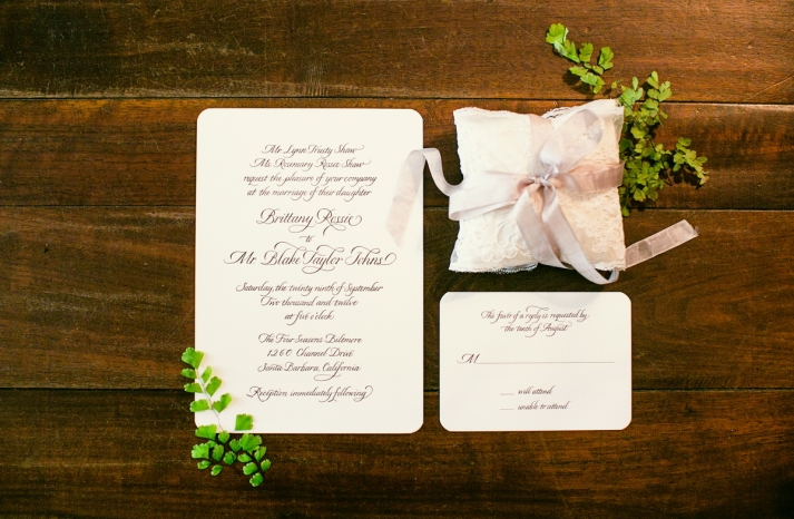 Romantic timeless wedding at the Four Seasons classic invitations