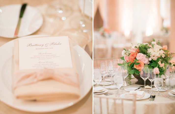 peach and ivory romantic wedding reception centerpieces with cream linens 2