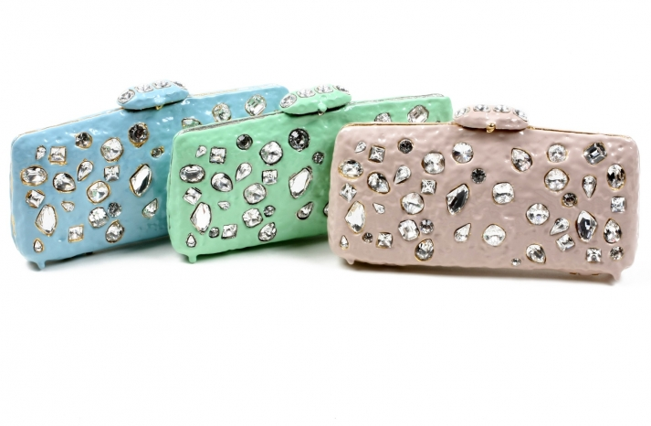 pastel crystal embellished bridal clutches