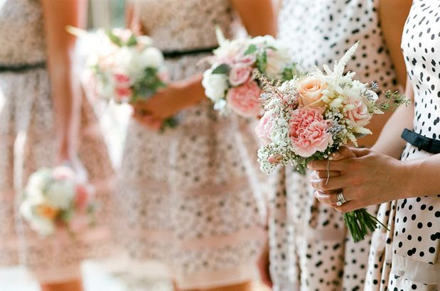 Chic Polka Dot bridesmaid dresses in blush and black