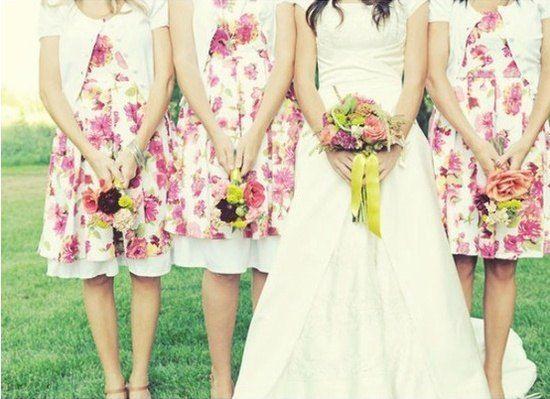 pink floral short bridesmaid dresses