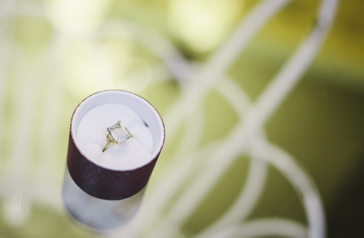 Bright summer wedding emerald cut engagement ring