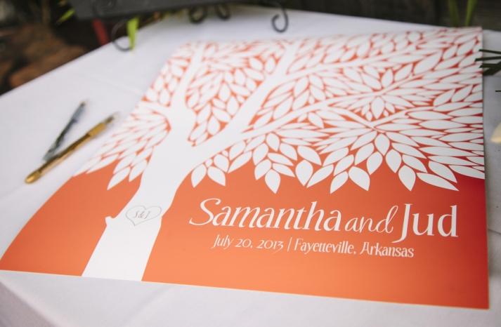 Bright summer wedding orange and white guest book