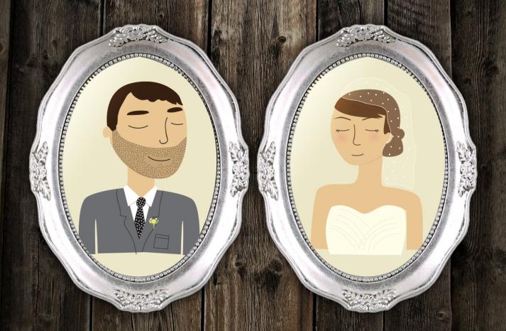 framed custom bride and groom portrait illustrations