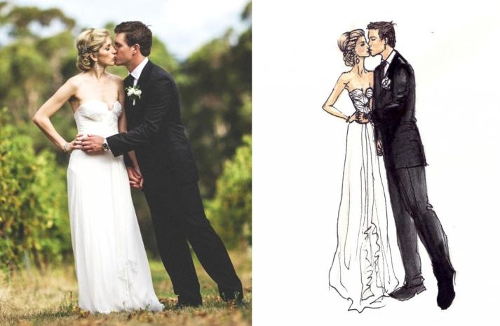 custom bride and groom wedding fashion illustration