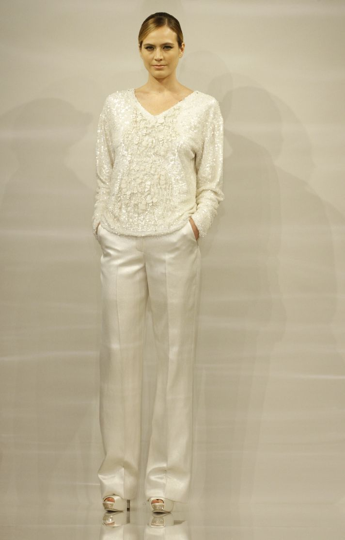 Gabi Theia White Bridal Collection chic pants suit