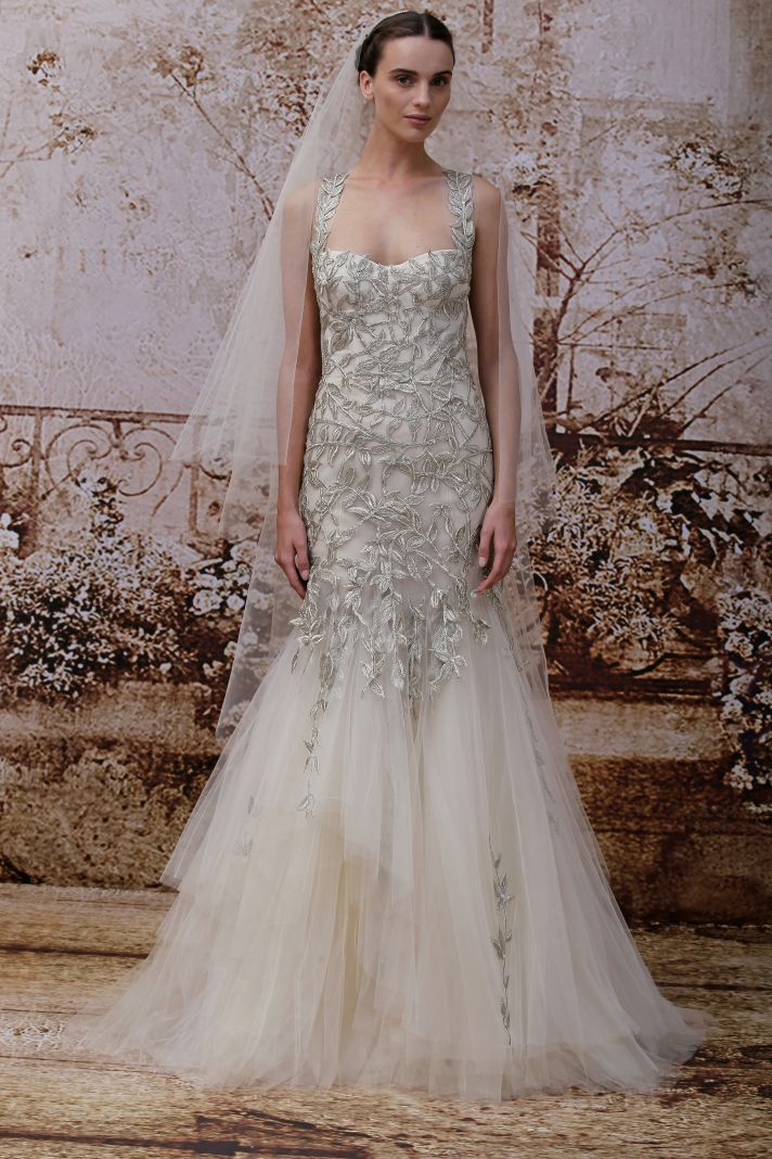 Garden inspired wedding dress by Monique Lhuillier