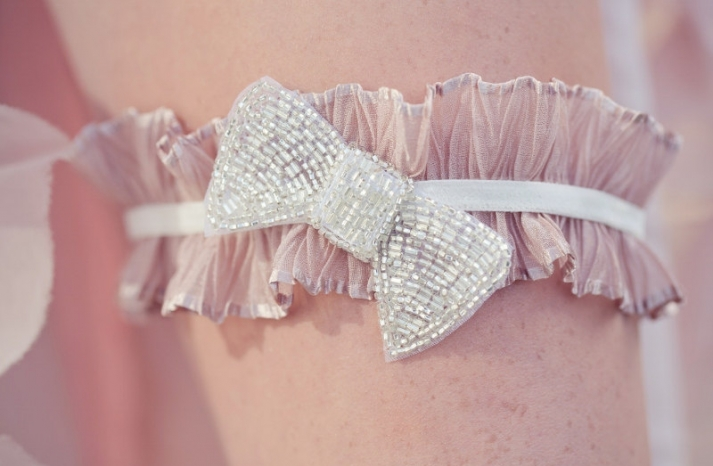 blush pink with pearl ruffled bridal garter