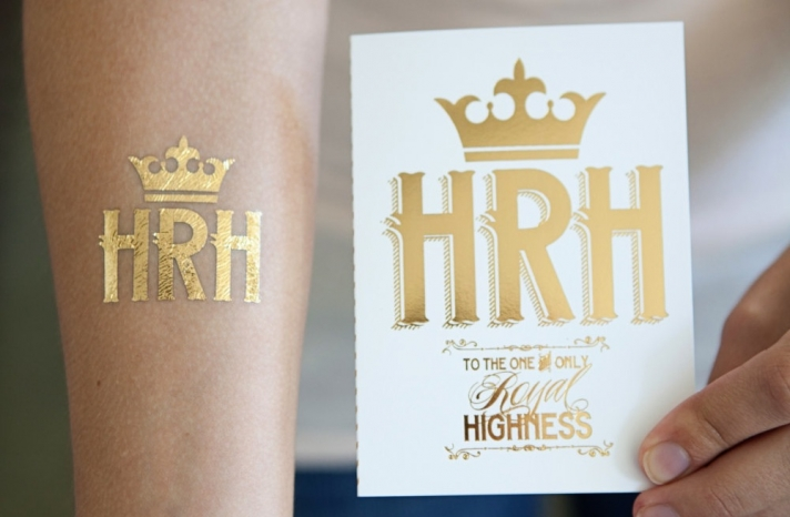 Her Royal Highness Gold Foil Wedding Tattoos