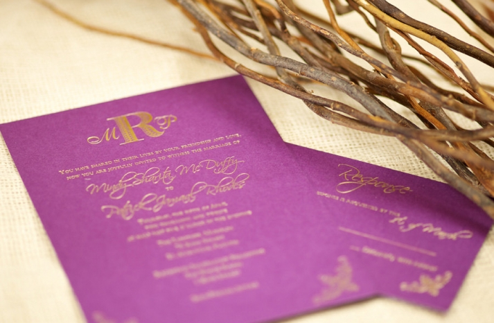 fuschia wedding invitations with gold foil calligraphy