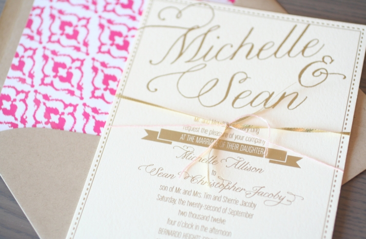 gold foil banner style wedding invitation