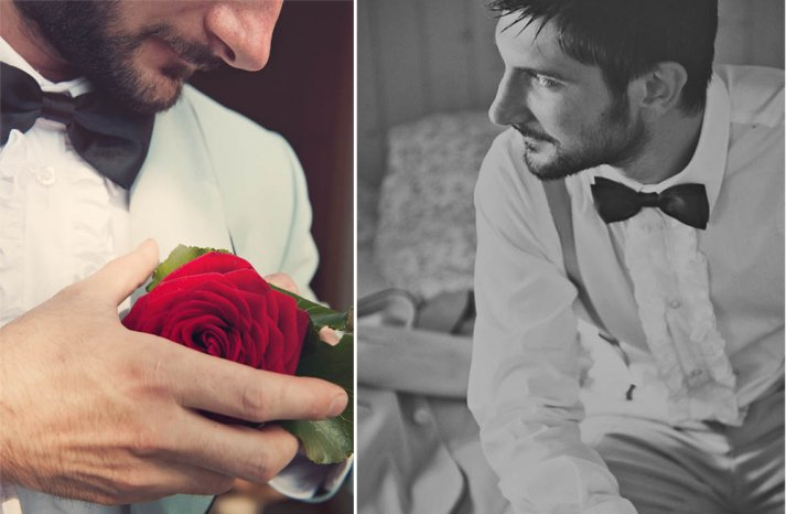 Funky groom in retro tux with ruffled shirt
