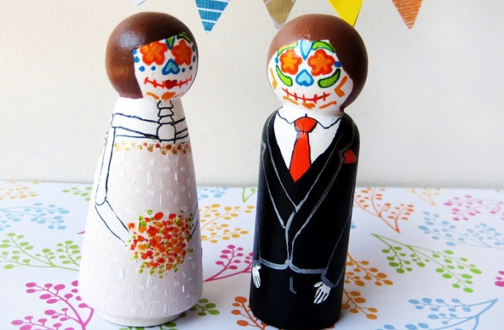 Day of the Dead bride and groom wedding cake toppers 2