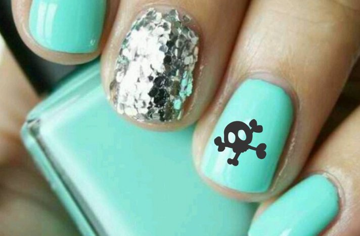 Turquoise and silver wedding nails with black skull decal