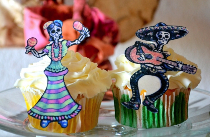 Day of the Dead wedding cupcake toppers