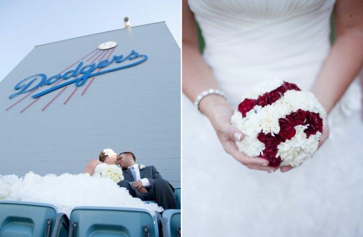 baseball themed wedding bouquet