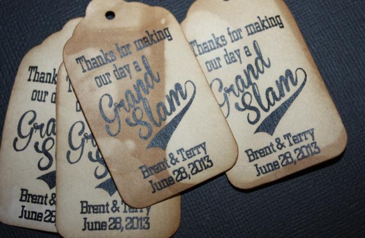 grand slam wedding favor tags