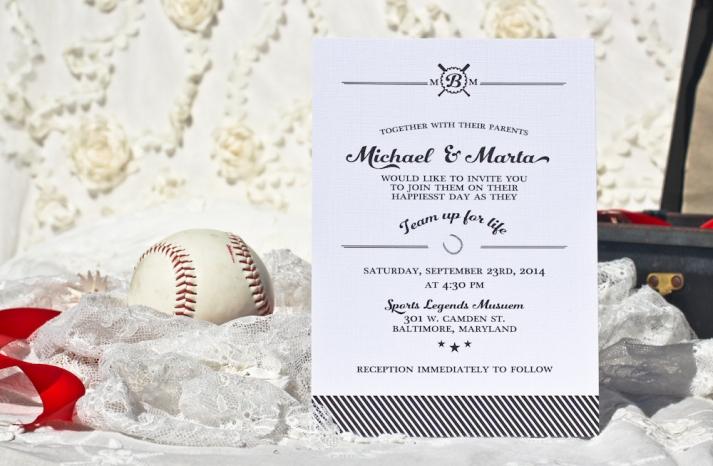 elegant baseball themed black and white wedding invite