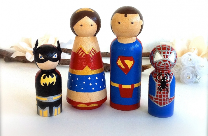 super hero family wedding cake toppers