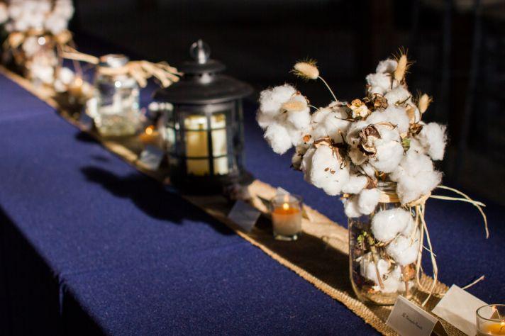 Fresh cotton mason jar wedding centerpiece