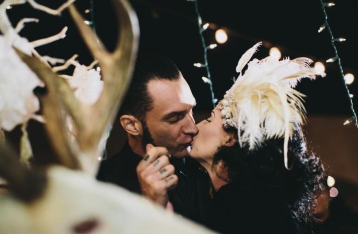 Portland real wedding goth bride and groom kiss