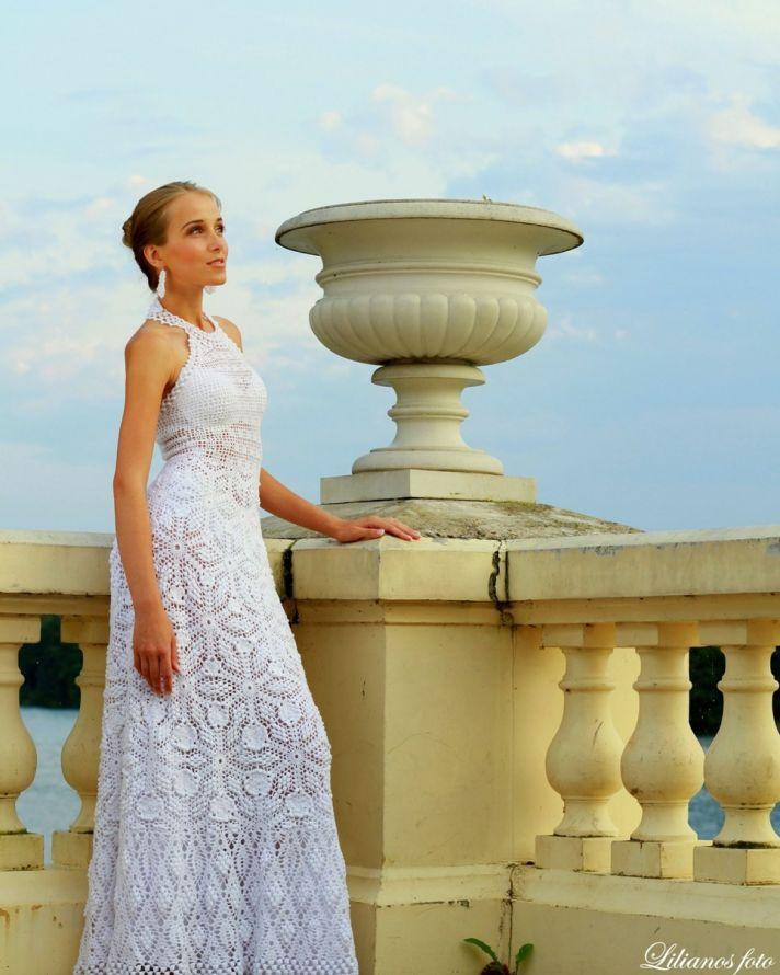 crochet halter modified mermaid wedding dress