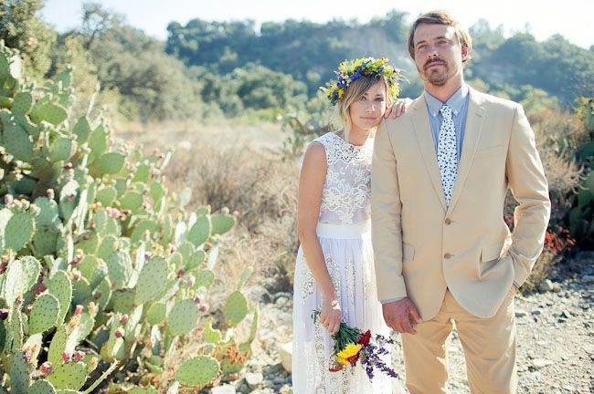 Bohemian bride in lace crochet gown and floral crown