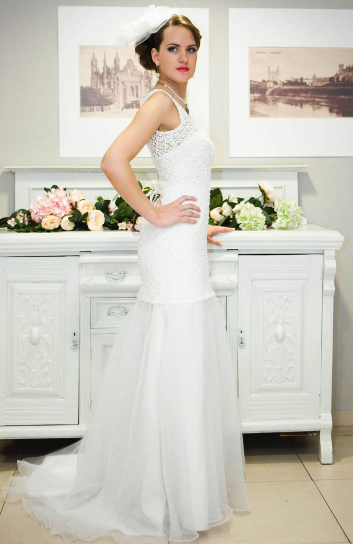 white illusion neckline crochet wedding dress with tie up back