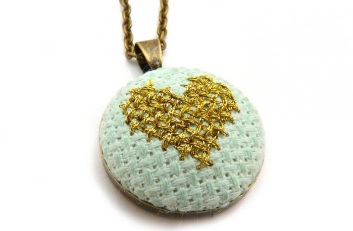 pale aqua and gold bridesmaids necklace
