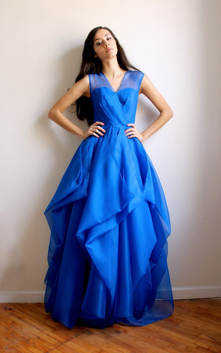 royal blue bridesmaid dress with illusion neckline